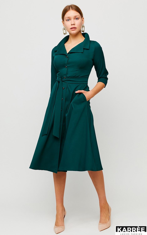 Платье Премиум, Темно-зеленый - фото 3