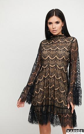 Платье Росси, Черный на бежевой основе - фото 1