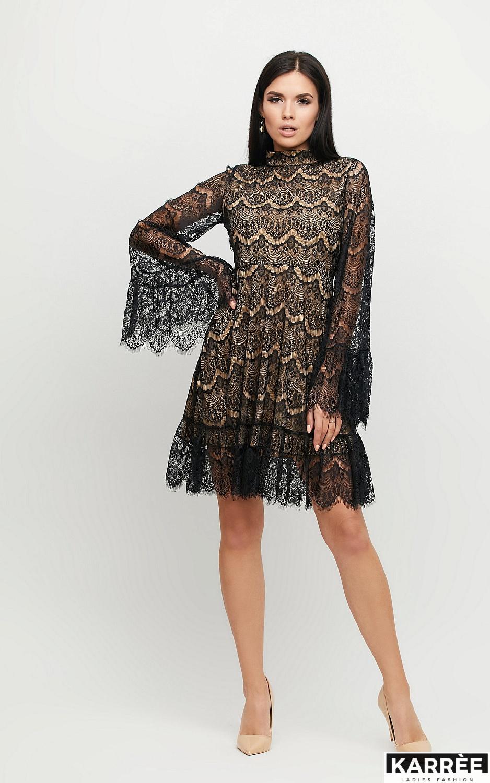 Платье Росси, Черный на бежевой основе - фото 3