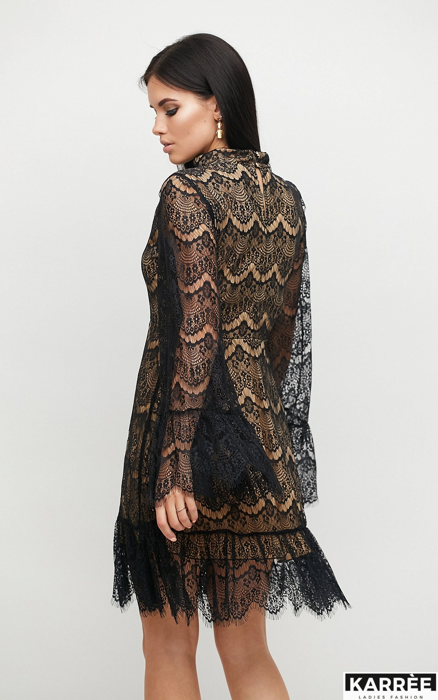 Платье Росси, Черный на бежевой основе - фото 2